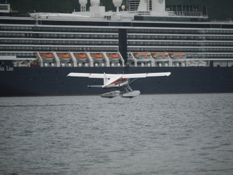 float plane and cruise ship